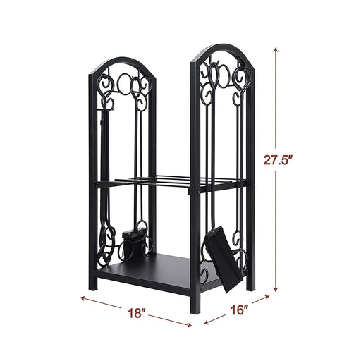 PHI VILLA All-in-One Heavy Duty Hearth Outdoor Firewood Rack