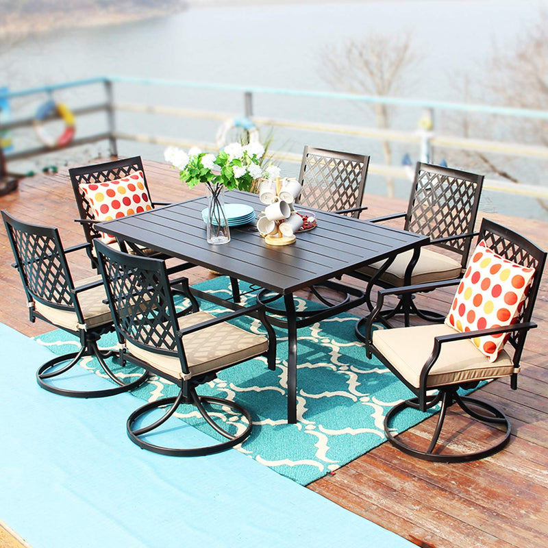 PHIVILLA 7 Piece Metal Outdoor Patio Dining Sets - Rectangle Patio Table and 6 Chairs