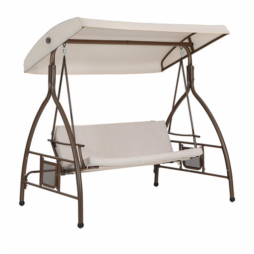 PHI VILLA 3 Person 750lbs Porch Soft Cushioned Swing Chair Glider Bench with Small Side Table and Top Canopy
