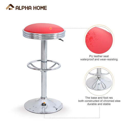 ALPHA HOME Swivel Bar Stool Counter Height Round PU Leather Adjustable Pub Stool with Chrome Footrest Red