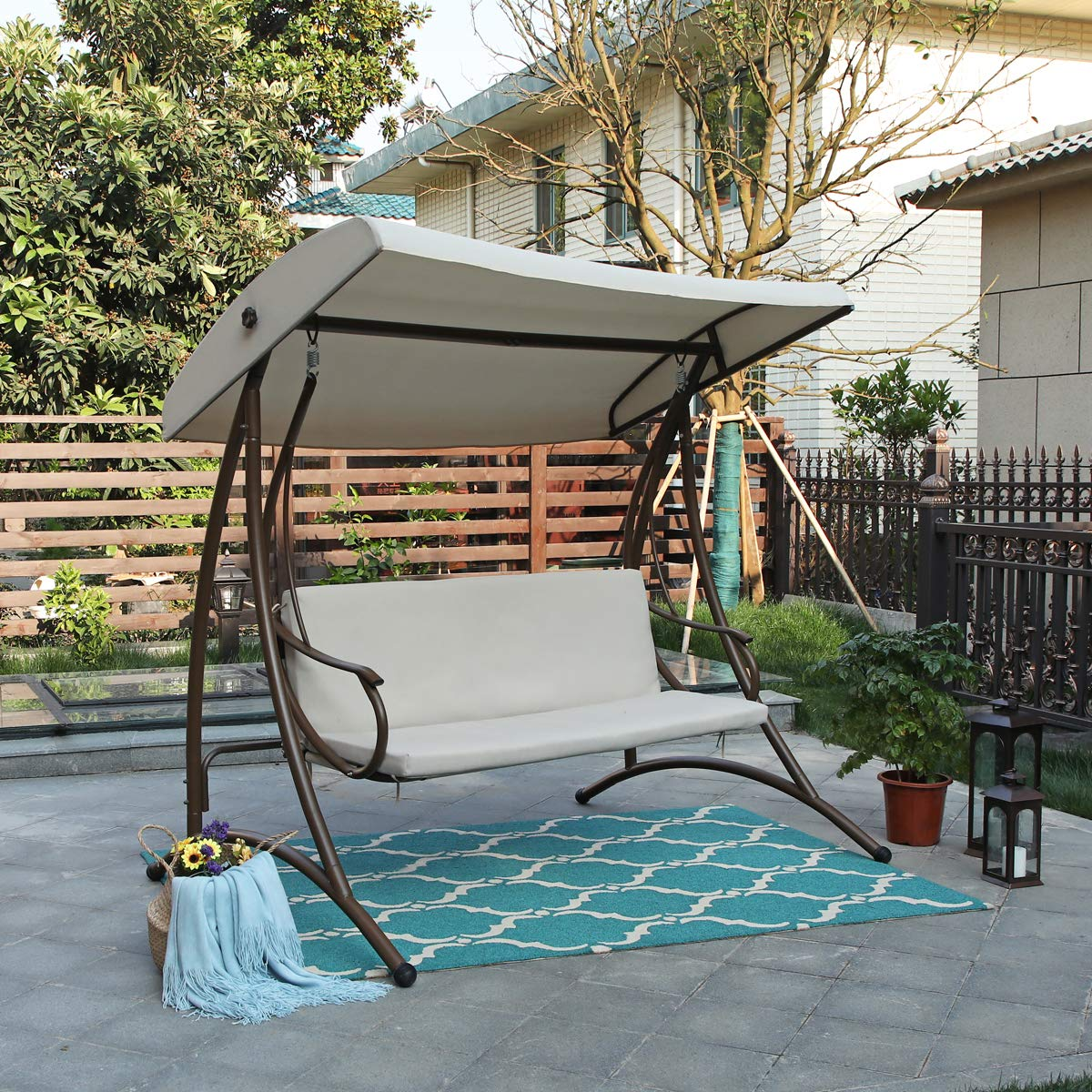 Alphamarts coupon: MFSTUDIO 3 Person Patio Swing Chair Glider with Side Table Patio Porch Steel Frame 3 Person Swing Chair with Canopy