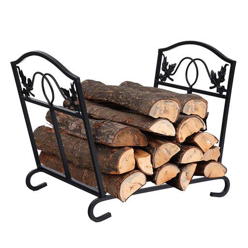 PHI VILLA 17 Inch Foldable Firewood Log Rack Decorative Indoor/Outdoor Steel Wood Storage Log Rack Holder, Black