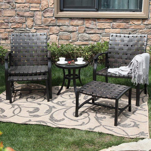 PHI VILLA 5-Piece Patio Conversation Set with Ottomans and Table