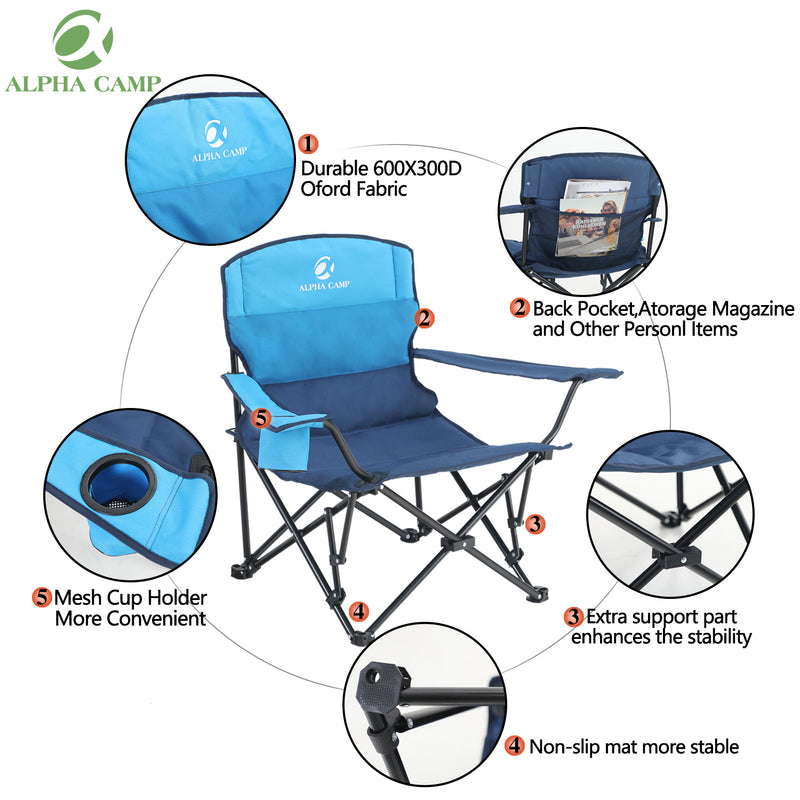 ALPHA CAMP Oversized Portable Camping Chair with Cup Holder Heavy Duty Support 300 LBS