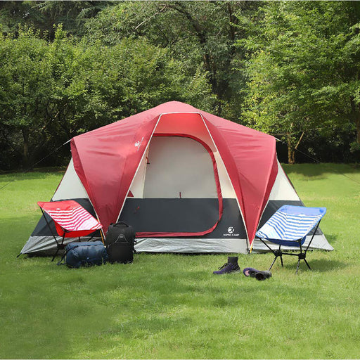 ALPHA CAMP Red 6 Person Camping Tent Extended Dome Design
