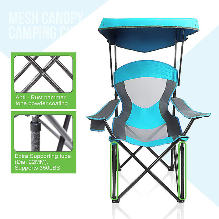 Alpha Camp Enamel Blue Folding Mesh Canopy Camping Chair