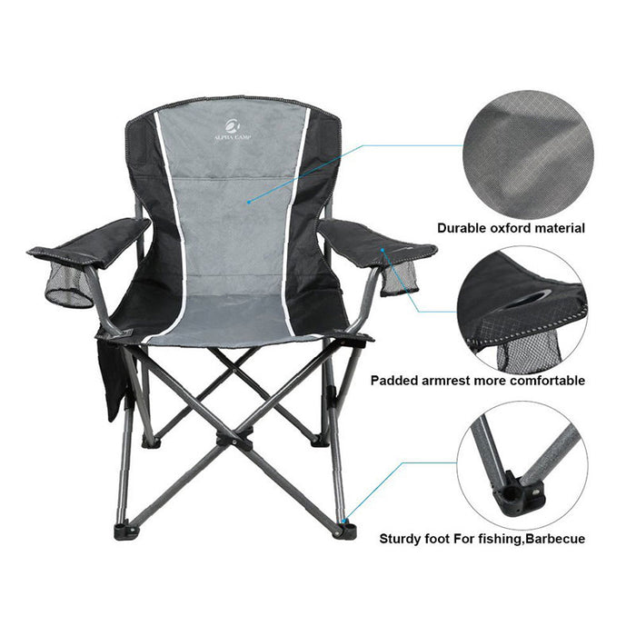 Alpha Camp Black Grey Oversized Folding Arm Camping Chair