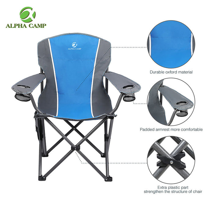 Alpha Camp Blue Grey Oversized Folding Arm Camping Chair