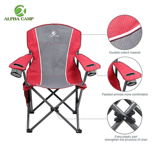 Alpha Camp Red Grey Oversized Folding Arm Camping Chair