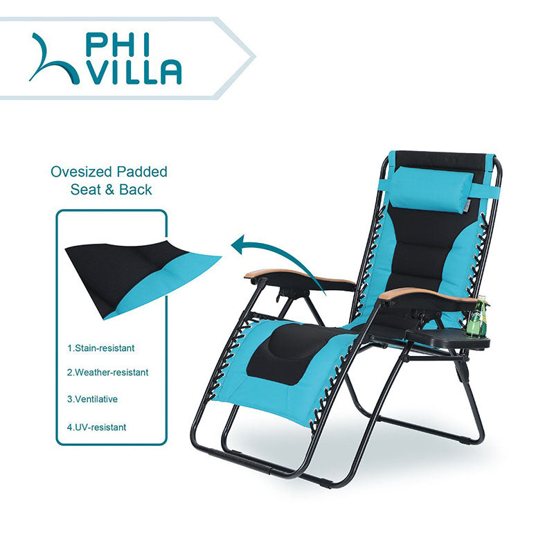 PHI VILLA Oversized Padded Zero Gravity Chair with Cup Holder