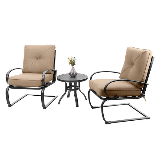 PHI VILLA Outdoor C-Spring Metal Lounge Cushioned Chairs Set