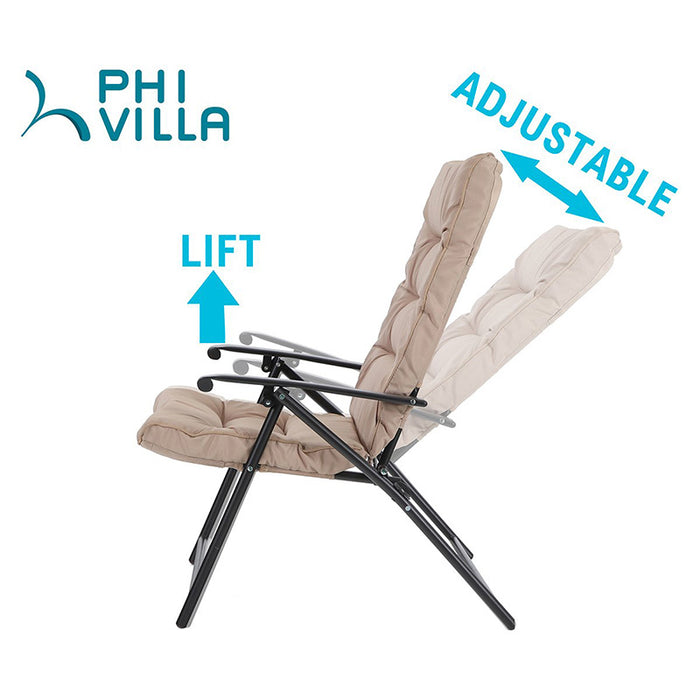 Excellent Phi Villa 3 Pc Padded Adjustable Reclining Bistro Set Ncnpc Chair Design For Home Ncnpcorg