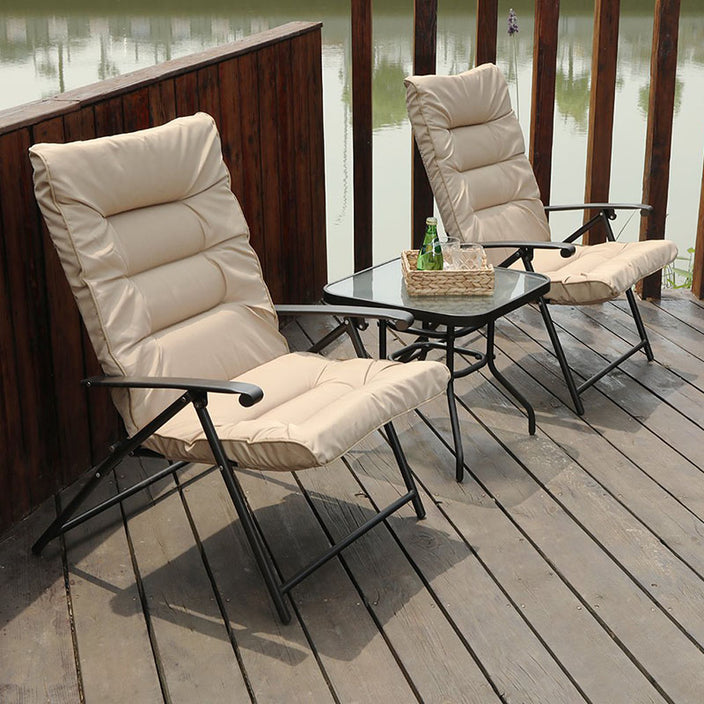 Phi Villa Patio Padded Folding Chair Adjustable Reclining Bistro Set Beige