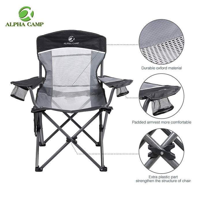 Alpha Camp Black Grey Oversized Mesh Camping Chair