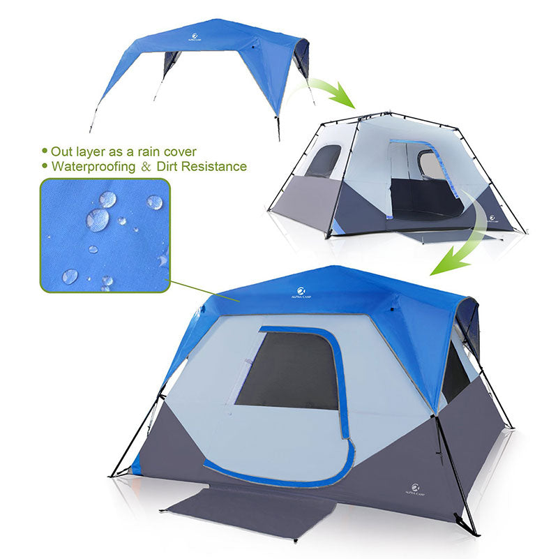 ALPHA CAMP Blue 6 Person Instant Cabin Camping Tent