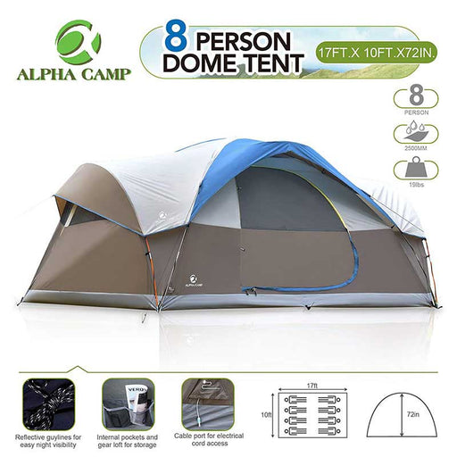 ALPHA CAMP Blue 8 Person Dome Family Camping Tent