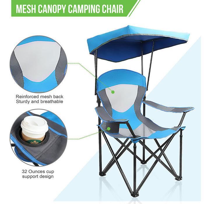 Alpha Camp Blue Folding Mesh Canopy Camping Chair