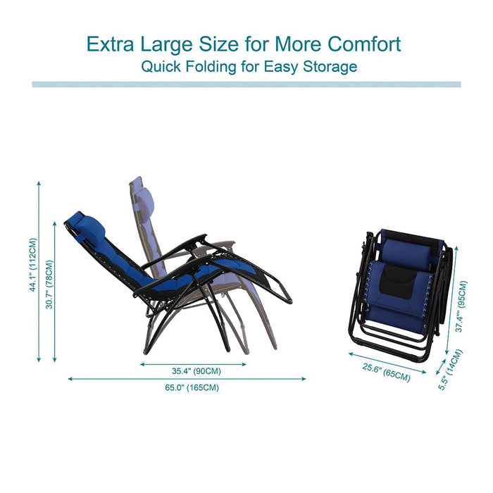 PHI VILLA Padded Zero Gravity Lounge Chair with Cup Holder
