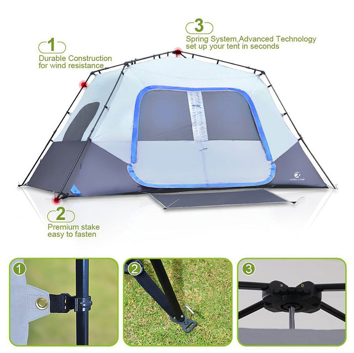 ALPHA CAMP Blue 8 Person Instant Family Camping Tent