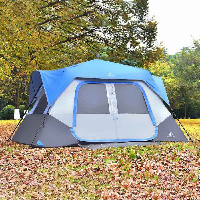 ALPHA CAMP Blue 8 Person Instant Family C&ing Tent & ALPHA CAMP 8 Person Instant Family Camping Tent u2014 AlphaMarts