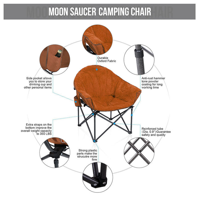 Alpha Camp Brown Padded Plush Moon Chair