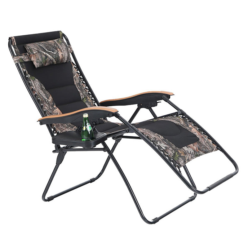 Phi Villa Oversized Padded Zero Gravity Lounge Chair Cup Holder Patio Adjustable Recliner Wooden Arm
