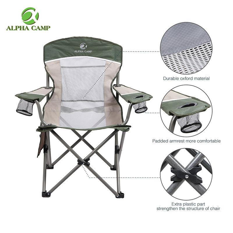 Alpha Camp Green Brown Oversized Mesh Camping Chair