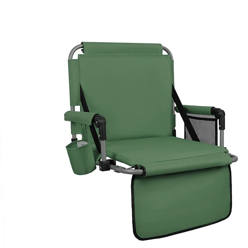 Alpha Camp Green Padded Stadium Seat Chair for Bleachers with Back??? Arm Rest