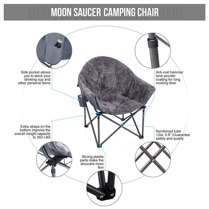 Alpha Camp Grey Padded Plush Moon Chair