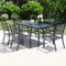 PHI VILLA 7-Piece Steel Panel Table and 6 Stackable Chairs Outdoor Patio Dining Sets