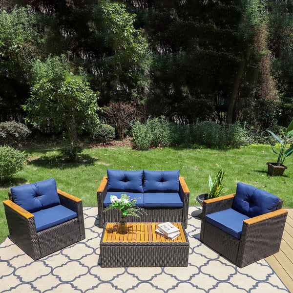 PHI VILLA 4-Piece Patio Wicker Sectional Sofa Conversation Sets with Table is $127 (11% off)