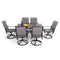 PHI VILLA 7-Piece Texitilene Swivel Chairs & Steel Panel Table Outdoor Dining Set