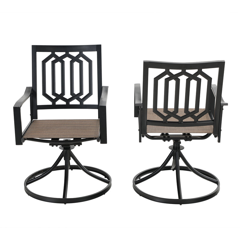 PHI VILLA Textilene Patio Dining Chair with Steel Frame, Set of 2