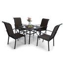 PHI VILLA 5-Piece Rattan Dining Chairs & Mesh Square Table Patio Dining Set