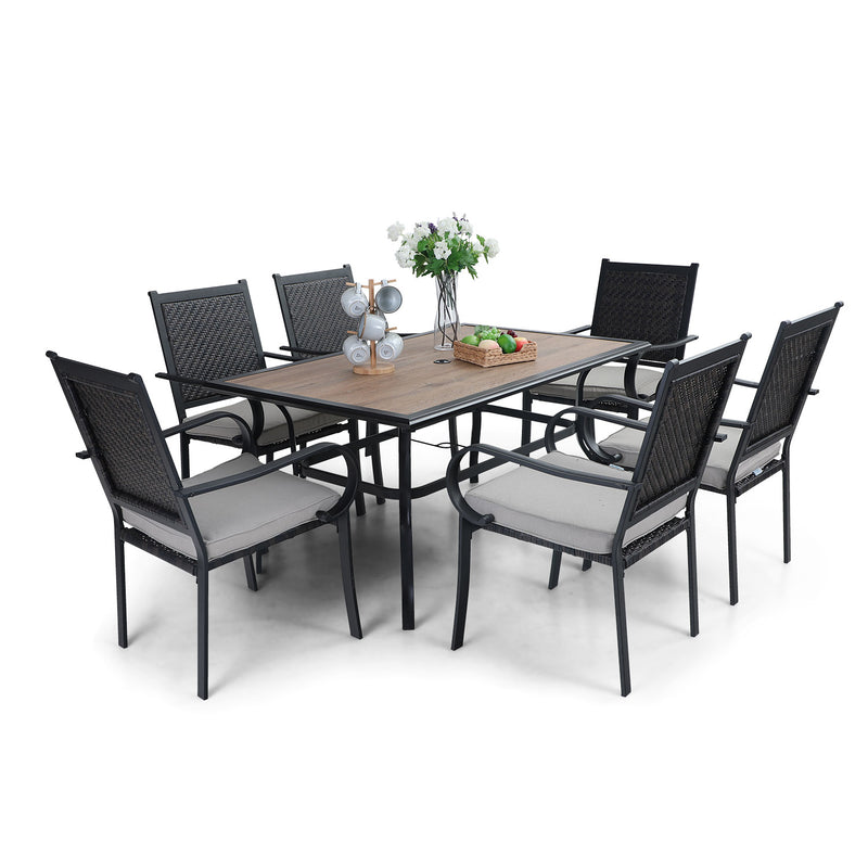 PHI VILLA 7-Piece Rattan Dining Chairs & Wood-look Table Outdoor Dining Set