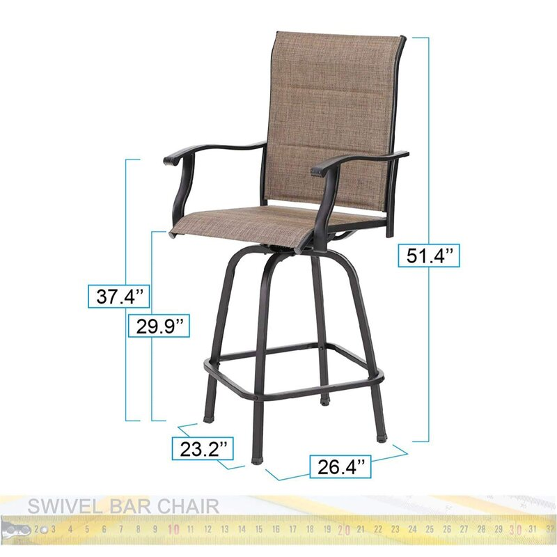 PHI VILLA 5-Piece Patio Bistro Set of 1 Coffee Table & 4 Bar Stools