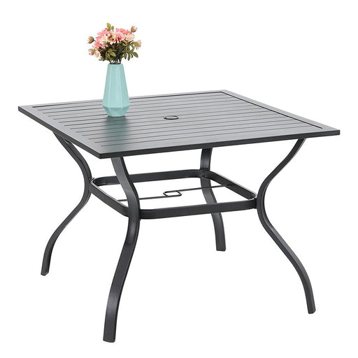 PHI VILLA 37″ Outdoor Patio Bistro Metal Steel Slat Dining Table with Umbrella Hole