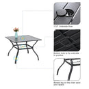 "Phi Villa 37"" Metal Steel Slat Patio Table with Umbrella Hole"