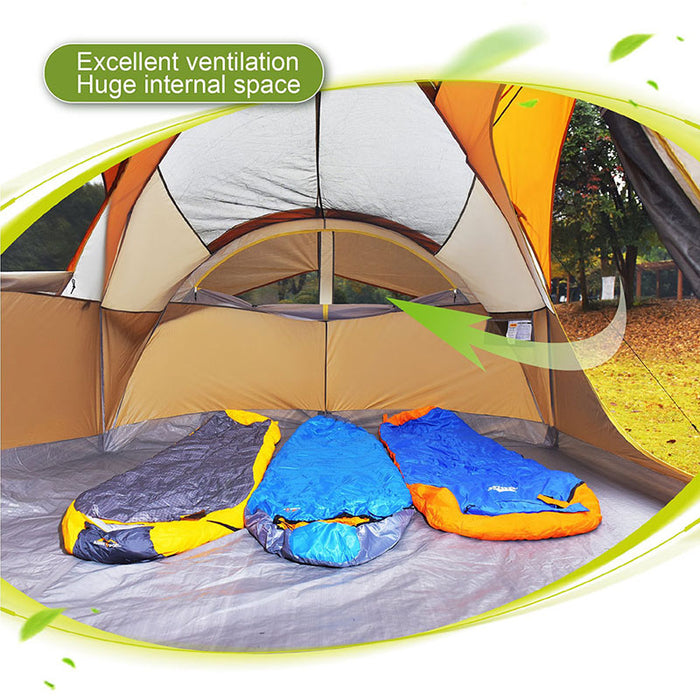 ALPHA CAMP Orange 6 Person Dome Family Camping Tent