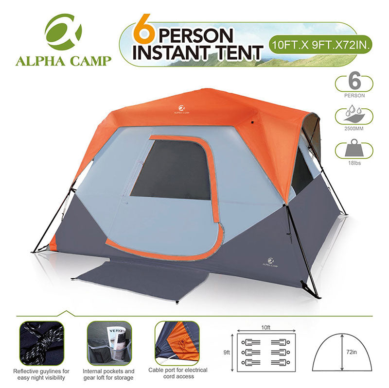 ALPHA CAMP Orange 6 Person Instant Cabin Camping Tent