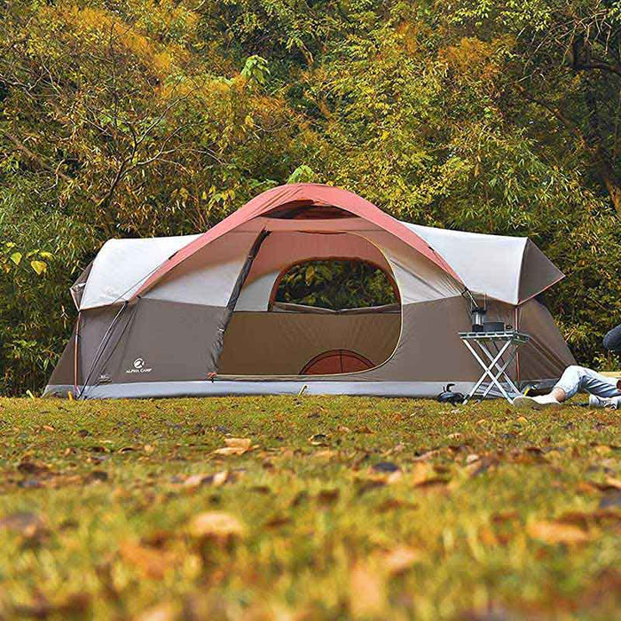 ALPHA CAMP Red 8 Person Dome Family Camping Tent