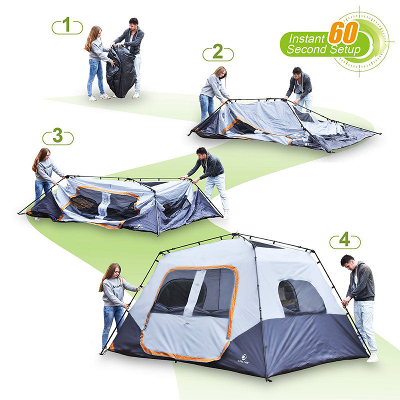 ALPHA CAMP Orange 8 Person Instant Family Camping Tent