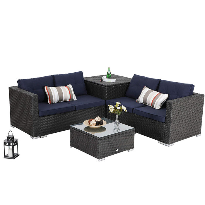 PHI VILLA 4 Piece Outdoor Sectional Patio Sofa Dining Set with Cushion Box Storage