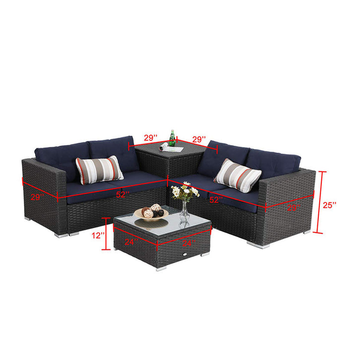 PHI VILLA Outdoor Sectional Patio Sofa Dining Set with Cushion Box Storage