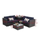 PHI VILLA Outdoor Furniture Rattan Sectional Sofa Set with Cushions