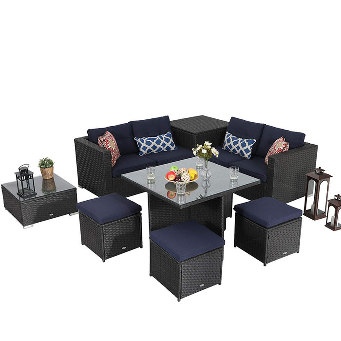 PHI VILLA 9 Piece Outdoor Sectional Patio Sofa Dining Set with Cushion Box Storage