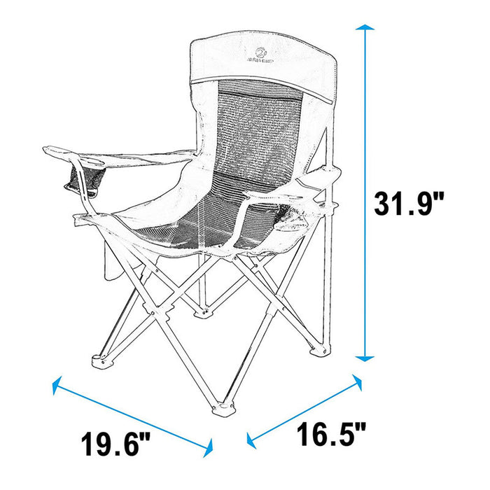 Alpha Camp Red Grey Oversized Mesh Camping Chair