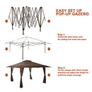 Phi Villa 13' x 13' Straight Leg Pop-up Canopy Party Gazebo, 169 Sq. Ft of Shade