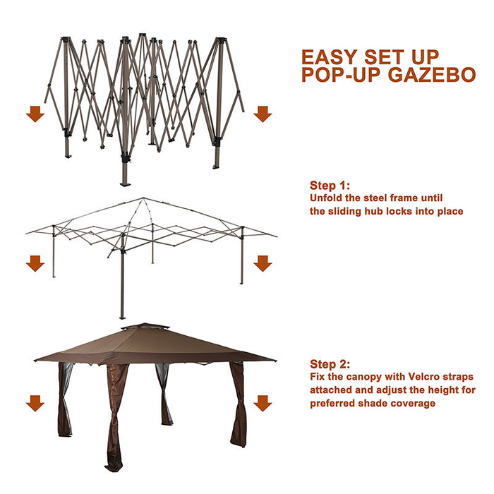LAKE & TRAIL 13′ x 13′ Straight Leg Pop-up Canopy Gazebo, 169 Sq. Ft of Shade