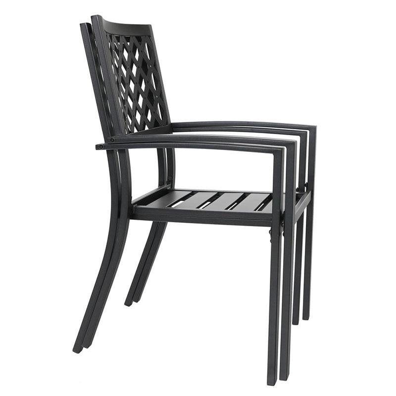 PHI VILLA Outdoor Patio Metal Dining Chairs fits Garden Backyard Chairs Furniture - Set of 2